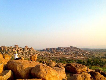 Meditation, Yoga, Hampi, India, Travel, Sunset, Health