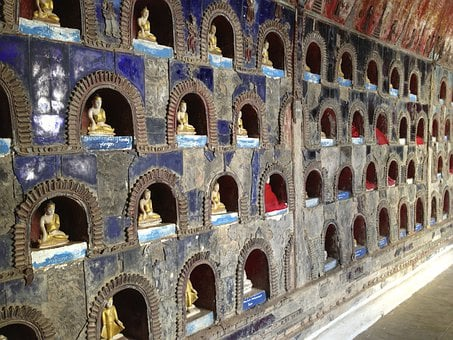 Temple, Burma, Wall, Stone, Figurines, Cubby Holes