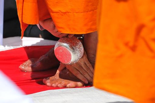 Washing, Water, Ritual, Feet, Toes, Buddhists Monks