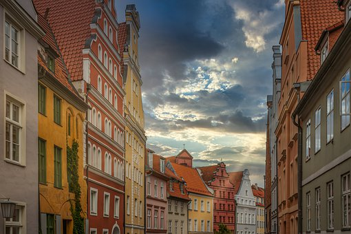 Houses, Facade, Stralsund, Germany