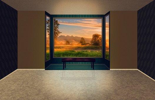 Room, Space, Bay Window, Window, Forest, Outlook