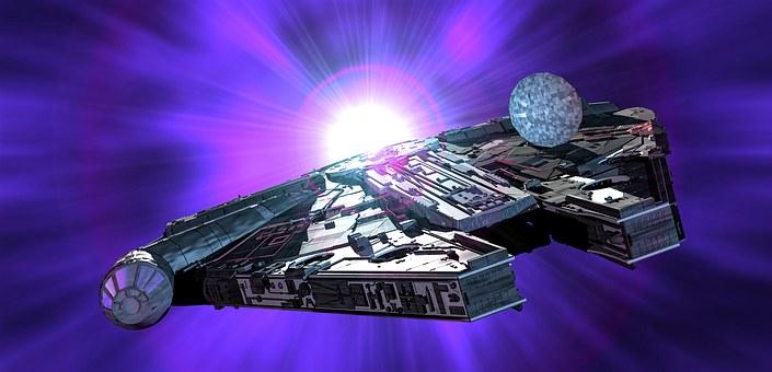 Millennium Falcon, Star Wars, Spaceship, Light, Space