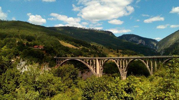 Tara, Canyon, Montenegro, Bridge, Rafting, Clouds