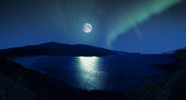 Aurora, Moon, Scotland, Beach, Northern