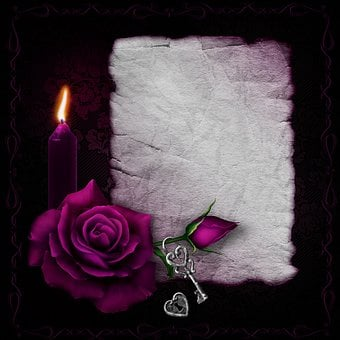 Gothic, Rose, Candle, Paper, Key, Castle