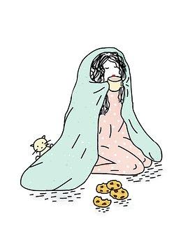 Girl In Blanket, Drinking Coffee, Cookies, Cozy, Sleepy