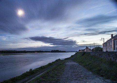 Loire, Night, River, Sky, Landscape, Evening, Nature