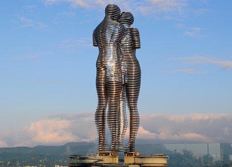 Batumi, Georgia, Adjara, Ali, Nino, Sculpture, Kiss