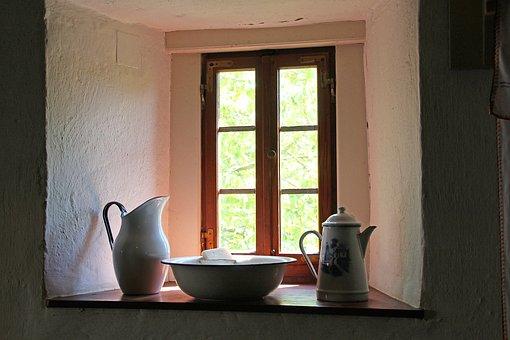 Window, Niche, Jugs, Light, Motif, Interior