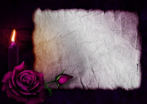 Gothic, Rose, Candle, Paper, Love