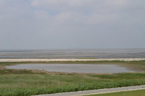Wadden Sea, Camping, Lower Saxony, Sky, Meadow, Beach