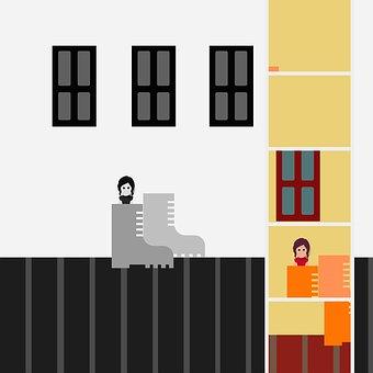 Vector Illustration, Creative, Room, Shoe, Small, Color