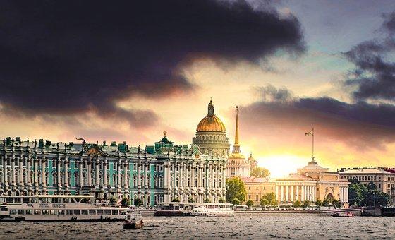 St Petersburg, Sunset, The Hermitage, Neva