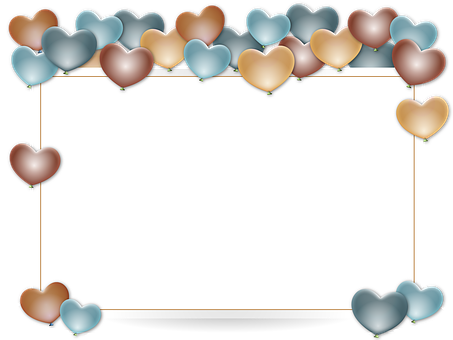 Frame, Border, Holder, Balloons, Anniversary, Heart