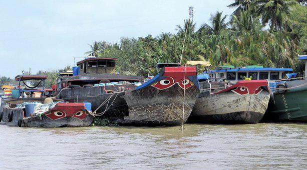 Viet Nam, Mékong, Boats, Barges, River, Transport