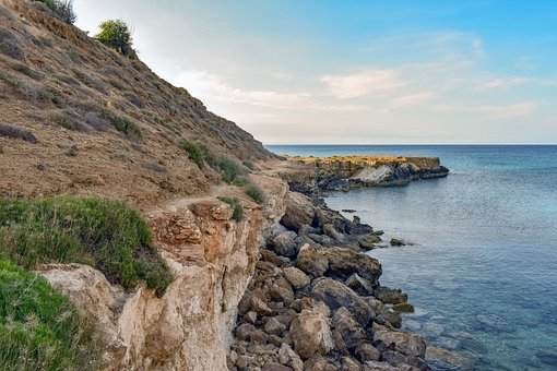 Cyprus, Kapparis, Cliff, Cove, Coastal Path, Rocks