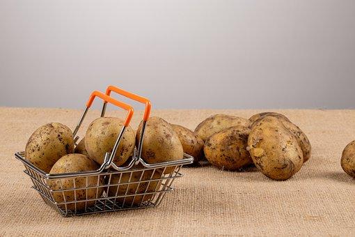 Autumn, Basket, Cloth, Crop, Dirt, Food, Potatoes, Raw