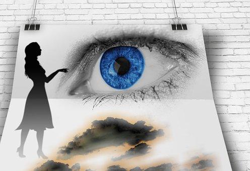 œil, Look, Woman, Poster, Clouds, Iris, View