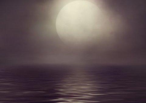 Sea, Moon, Fog, Moonlight, Night, Full Moon