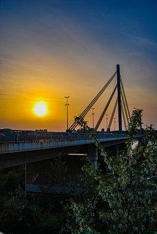 Sun, Bridge, Sunlight, Sunset