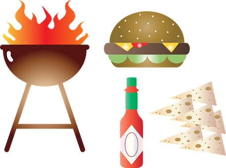 Summer Foods, Hot Sauce, Stitched, Fabric, Hot Dog