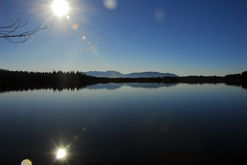 Kirchsee, Sun, Water, Lake, Mirroring