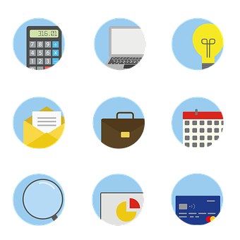 Business Icons, Icons, Calculator, Laptop, Lightbulb