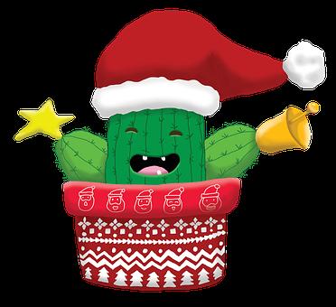 Merry Christmas, Cactus, Pots, Flower, Potted Plants