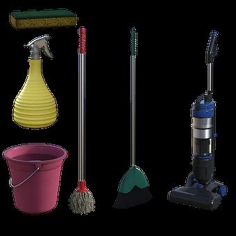 Cleaning, Supplies, Vacum, Mop, Broom, Bucket, Suds