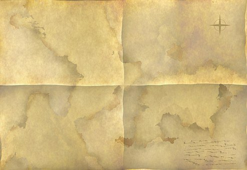 Map, Unfolded, Old, Land, Paper