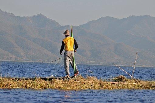 Fisherman, Lake Inle, Burma, Single-leg Rower, Inlesee