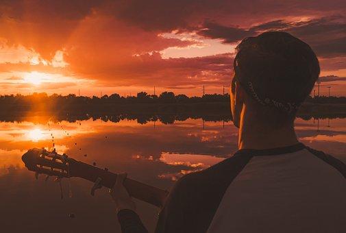 Sun, Man, Boy, Life, Guitar, Sunset