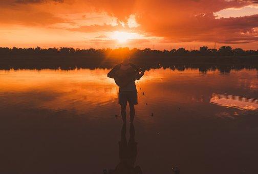 Sun, Man, Boy, Life, Guitar, Sunset, Brown Guitar