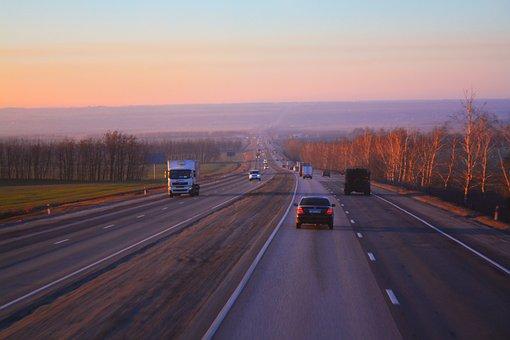Dawn, Sunset, Nature, Landscape, Road, Transport, Sky