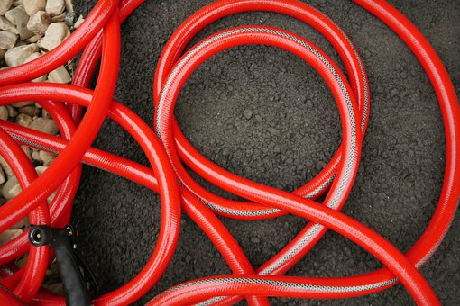 Garden Hose, Coiled, Hose, Wrapped, Texture, Watering