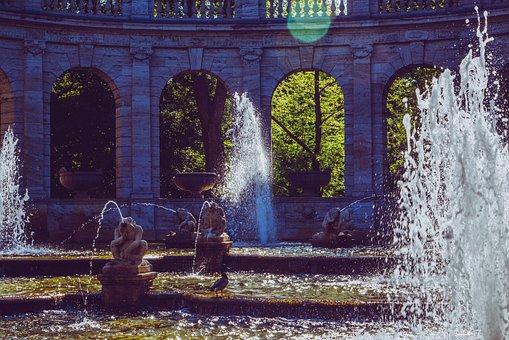 Fountain, Fairy Fountain, Berlin, Figure, Sculpture