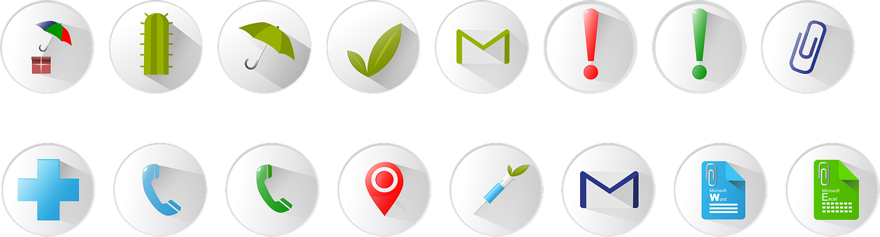 Icons, Umbrella, Load, Mail, Icon, Clip
