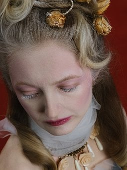Girl, Baroque, Lady, Rose, Makeup