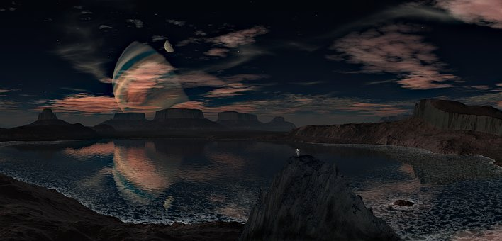Landscape, Planet, Sky, Lake, Mountains, Clouds