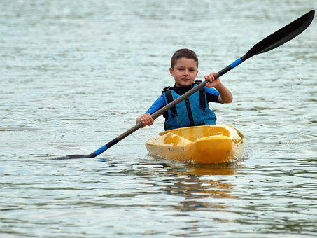 Child, Little Boy, The Vest, Row, The Boat, Boat, Kayak