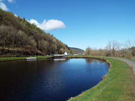 Crinan Canal, Canal, Scotland, Uk, Blue Sky, Canalside