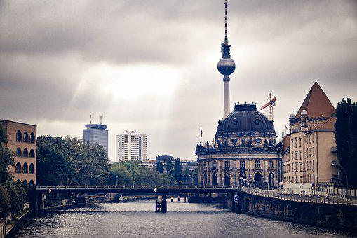 Berlin, Spree, Tv Tower, Capital