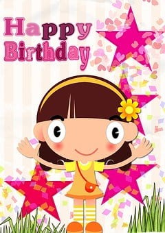 Happy, Birthday, Card, Greeting, Pink, Little Girl