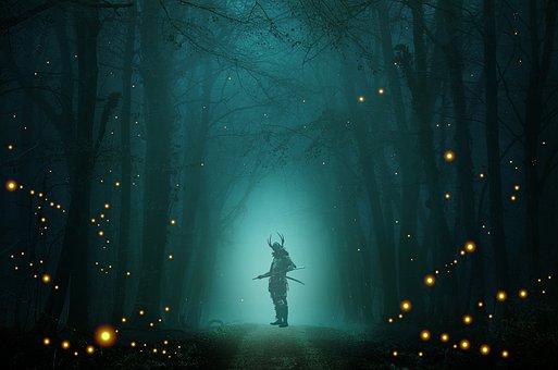 Samurai, Warrior, Sword, Katana, Fireflies, Firefly