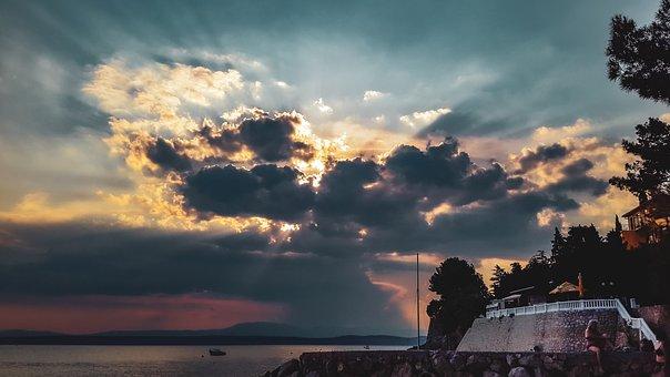 Clouds, Sun, Rays, Sea, Heaven, Twilight, Mood, Scenic