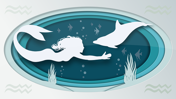 Siren, Dolphin, Silhouettes, Paper Cut, Fish
