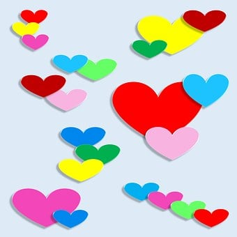 Hearts, 3d, Love, Rainbow, Spectrum, Design, Decorative