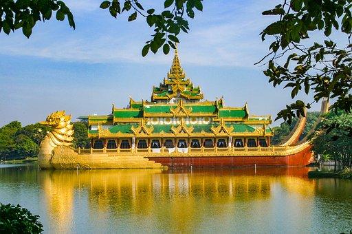 Pagoda, Myanmar, Lake, Temple, Burma, Asia, Buddhism