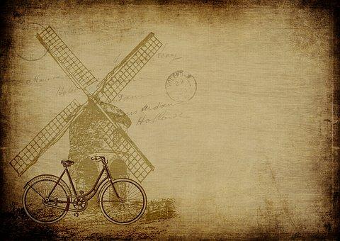 Dutch, Windmill, Vintage, Old, Paper, Background