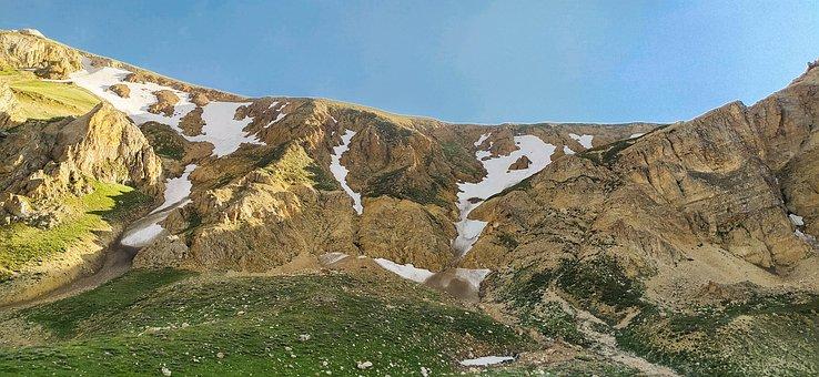 Mountain, Ice, Snow, Spring, Green, Plane, Sky, Grasses